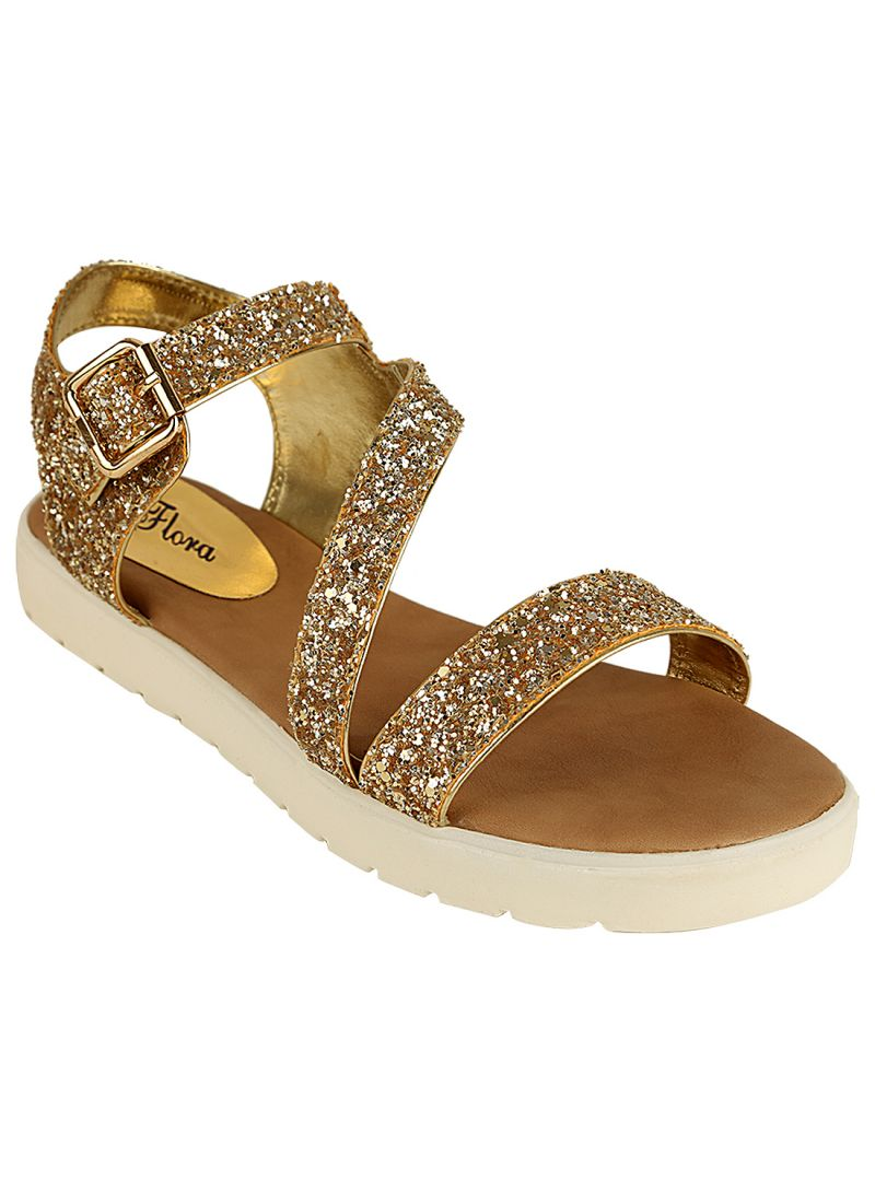 Buy Flora Comfort Gold Heeled Sandals (code - Pf-0134-31) online