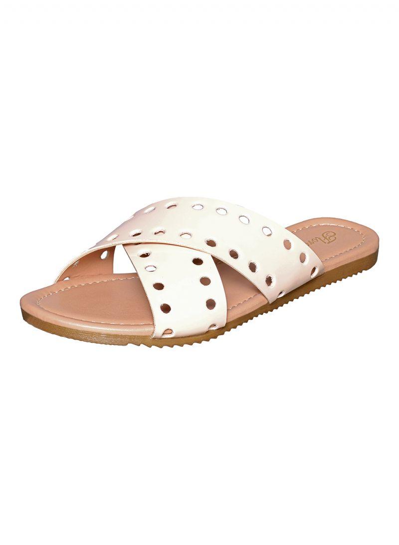Buy Flora Cream Cross Strap Flat Sandal Online Best Prices In Strape On