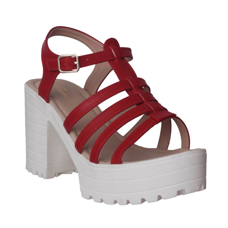 Buy Flora Comfort Wedge Heeled Red Sandals (code - Pf-1018-05) online