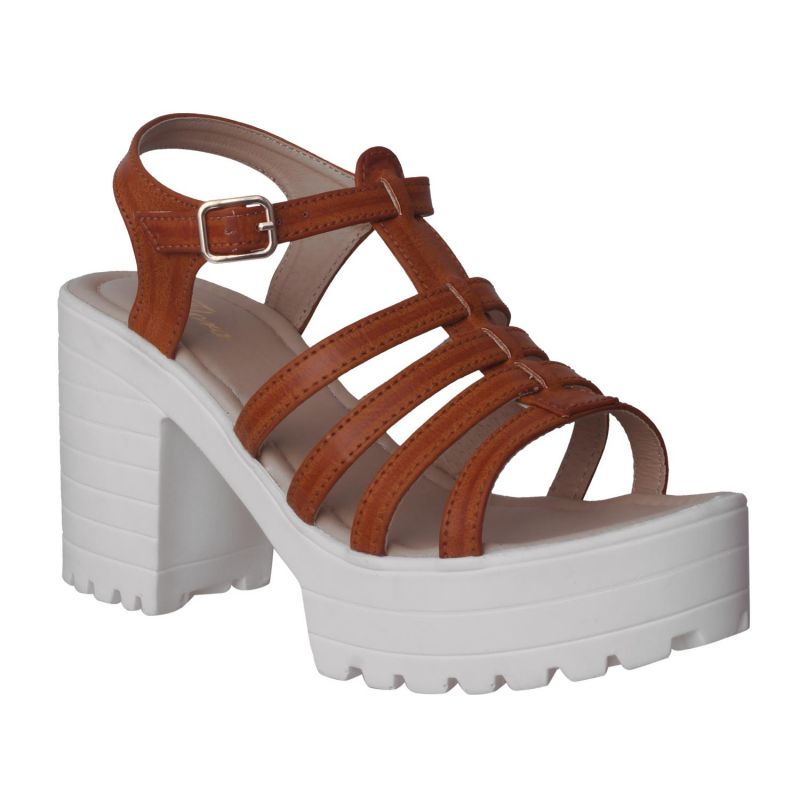 Buy Flora Comfort Wedge Heeled Tan Sandals (code - Pf-1018-07) online