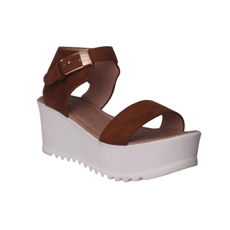 Buy Flora Comfort Wedge Heeled Tan Sandals (code - Pf-1019-07) online