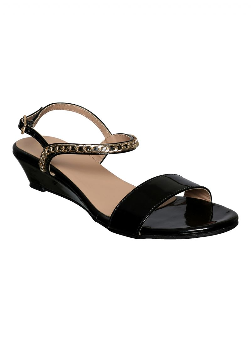 Buy Flora Black Wedge Sandal online