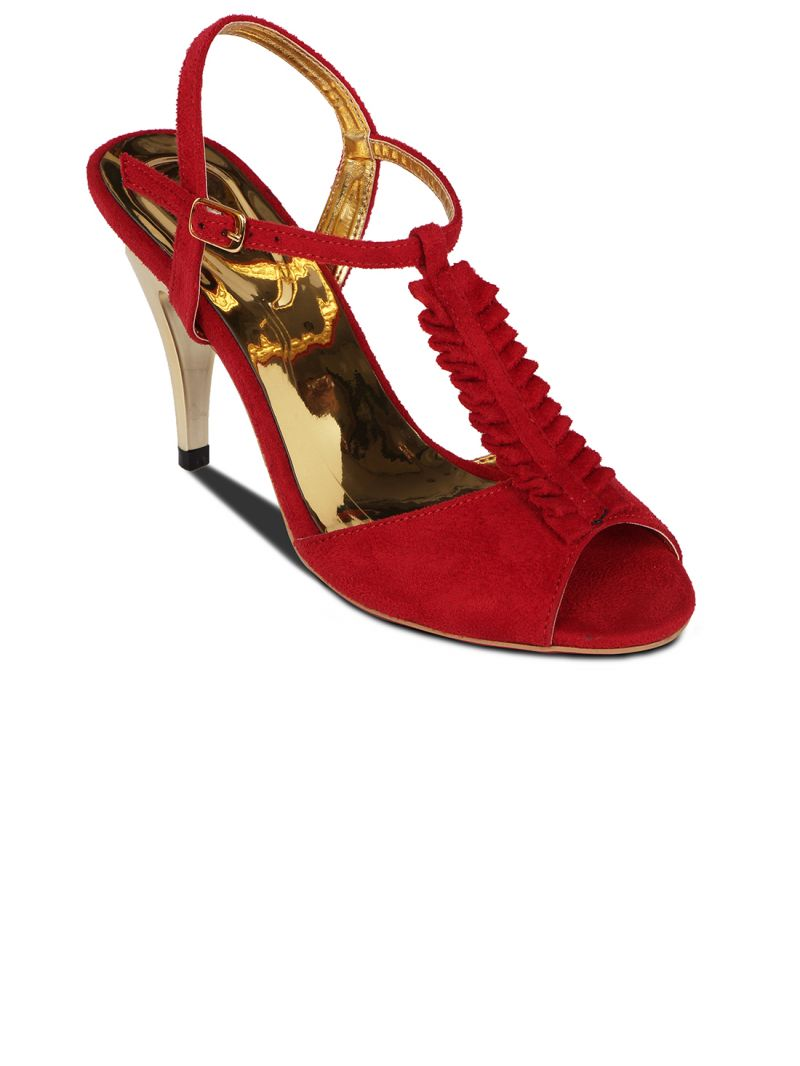 Buy Flora Red Suede Stiletto Heels Sandal For Women online