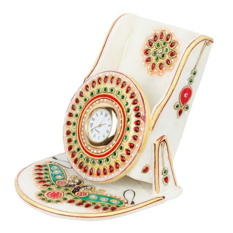Buy Kundan Meenakari Marble Mobile Stand With Clock online
