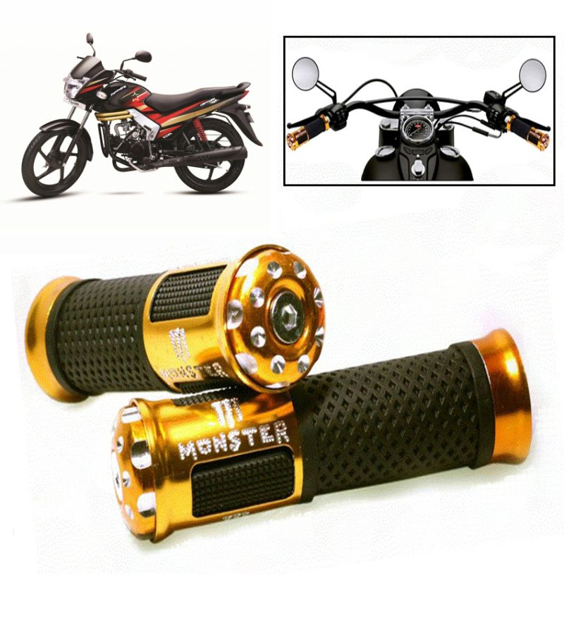 Buy Capeshoppers Monster Designer Golden Bike Handle Grip For