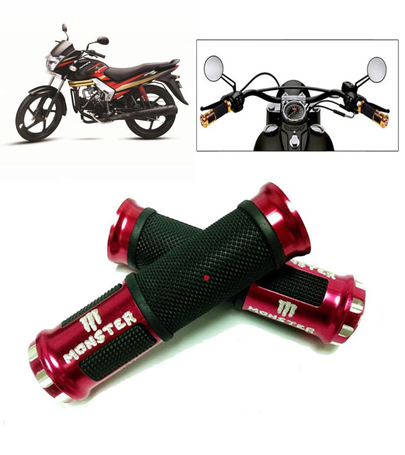 Buy Capeshoppers Monster Designer Red Bike Handle Grip For Mahindra