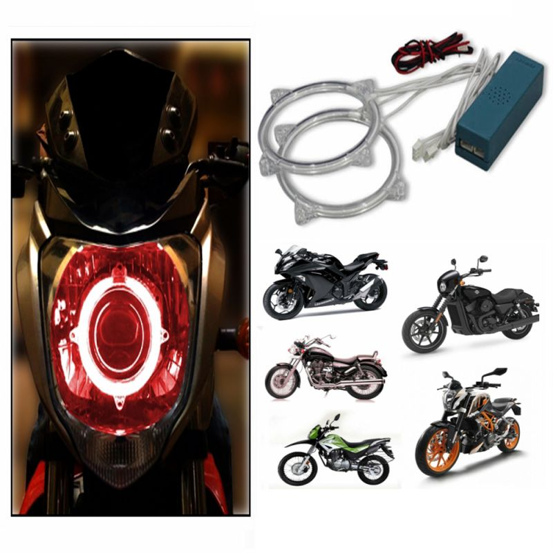 Buy Capeshoppers Angel Eyes Ccfl Ring Light For Hero Motocorp Super Splender O/m- Red Set Of 2 online