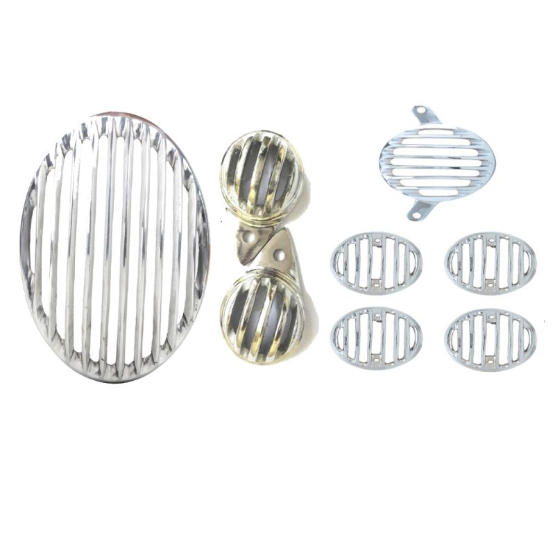 Buy Capeshoppers Chrome Combo Grill Cover For Royal Bullet Twinspark 350 online