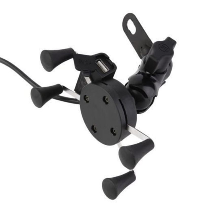 Buy Capeshoppers Spider Mutifunctional Mobile Holder With USB Charger For Mahindra Kine 80cc Scooty online