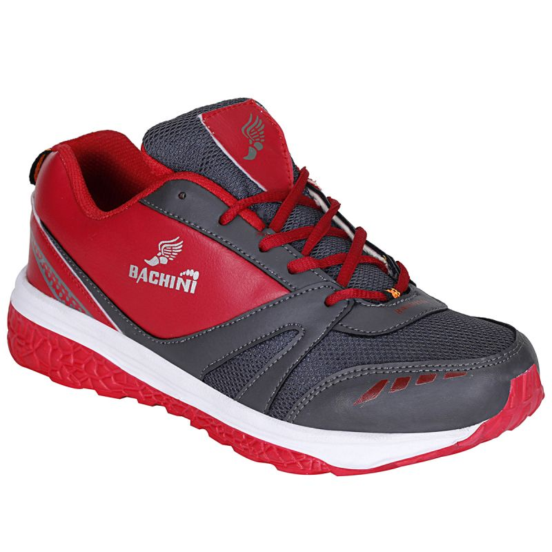Buy Bachini Red Grey Sport Shoes For Men (product Code - 1605-red Grey) online