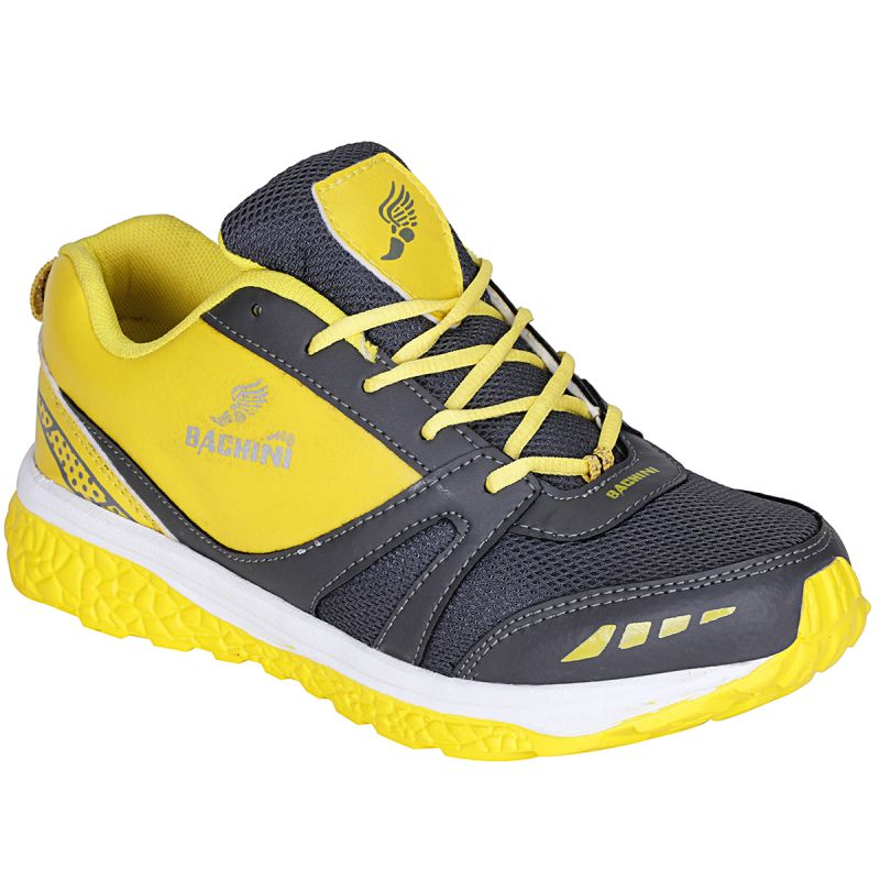 Buy Bachini Yellow Grey Sport Shoes For Men (product Code - 1605-yellow Grey) online