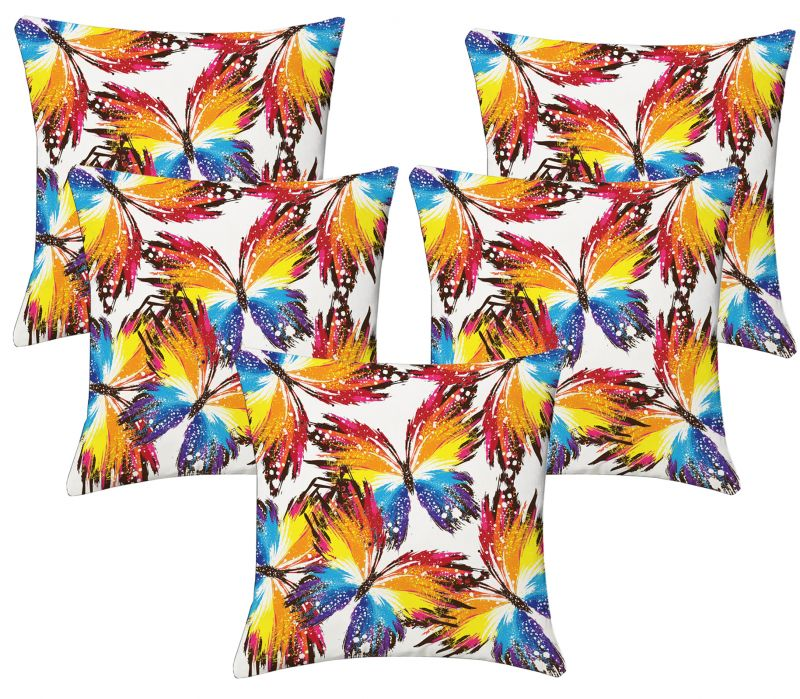 Buy Lushomes Digital Print Creative Butterfly Cushion Covers (pack Of 5) online