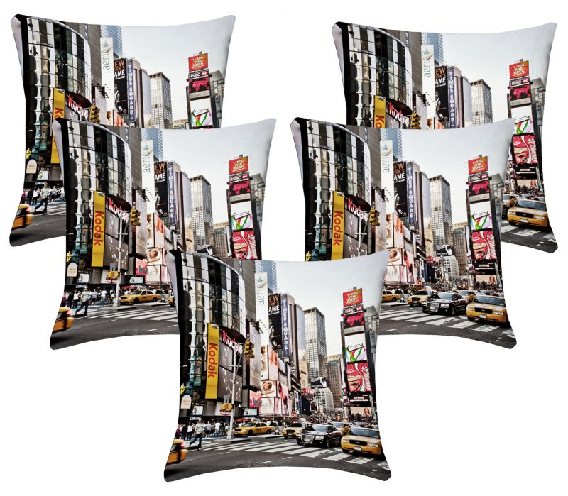 Buy Lushomes Digital Print Times Square Cushion Covers (pack Of 5) online