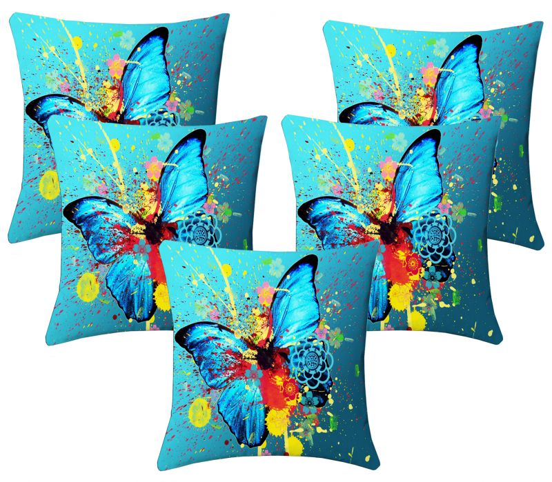 Buy Lushomes Digital Print Aqua Butterfly Cushion Covers (pack Of 5) online