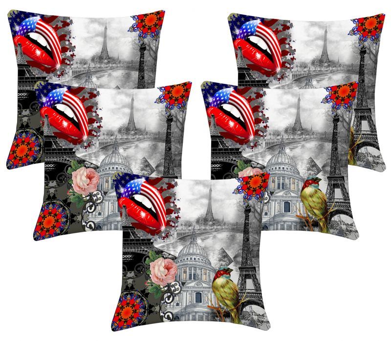 Buy Lushomes Digital Print Sketch Cushion Covers (pack Of 5) online