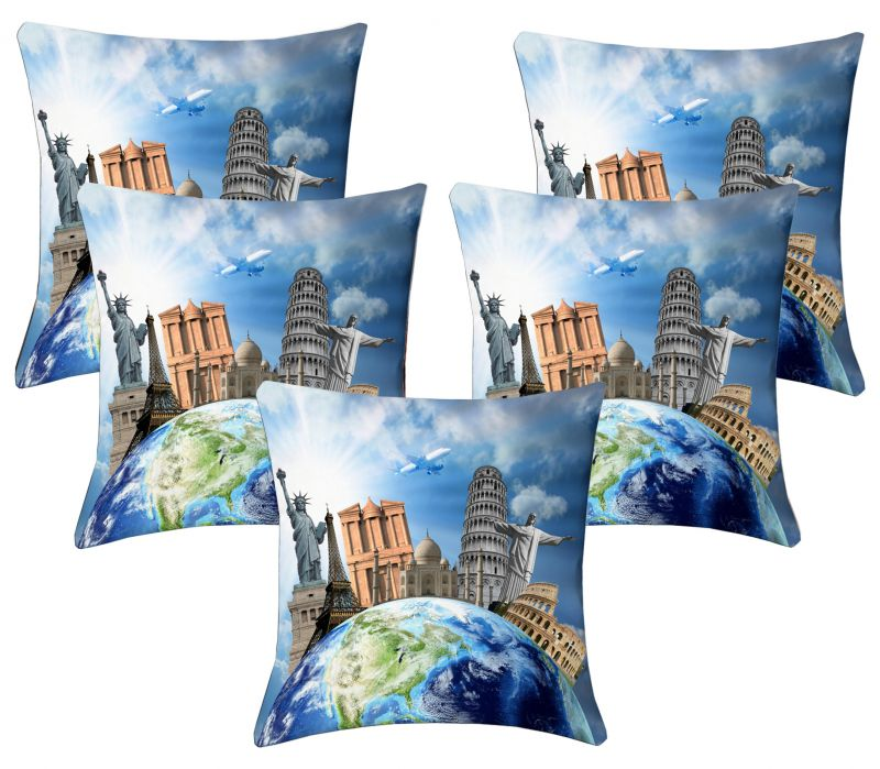 Buy Lushomes Digital Print Around The World Cushion Covers (pack Of 5) online