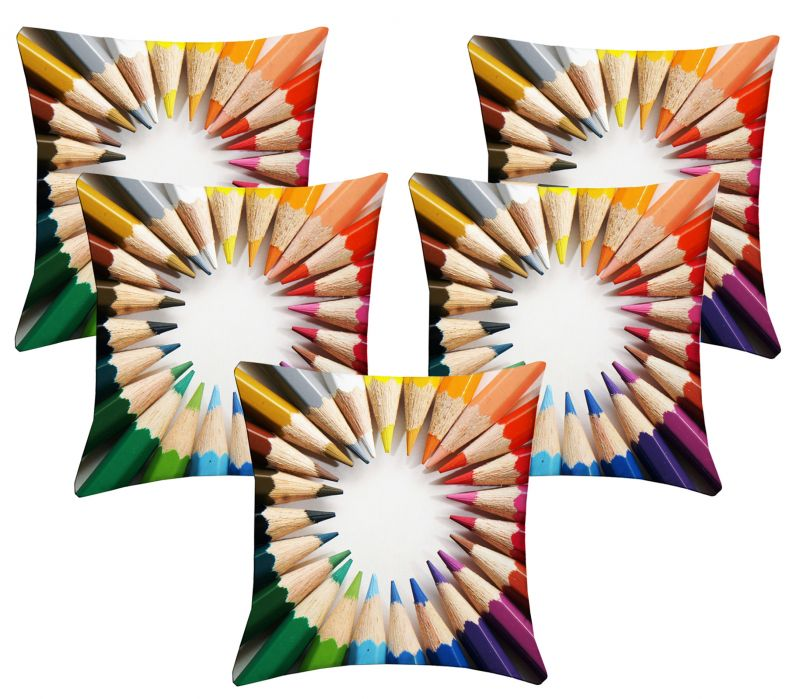 Buy Lushomes Digital Print Pencils Cushion Covers (pack Of 5) online