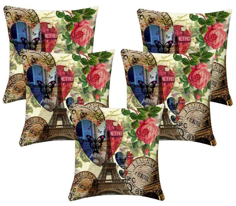 Buy Lushomes Digital Print Paris Love Cushion Covers (pack Of 5) online