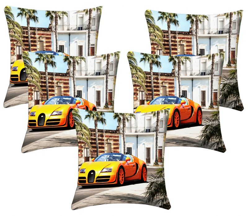 Buy Lushomes Digital Print Car Cushion Covers (pack Of 5) online
