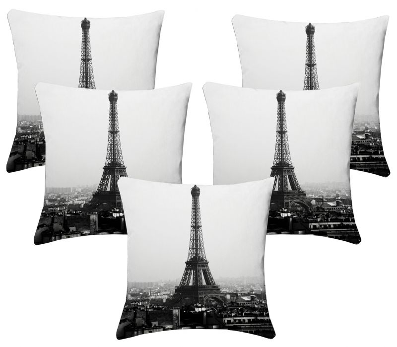 Buy Lushomes Digital Print Black & White Cushion Covers (pack Of 5) online