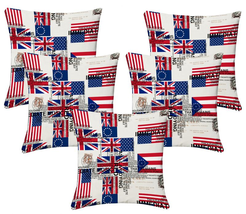 Buy Lushomes Digital Print Flags Cushion Covers (pack Of 5) online