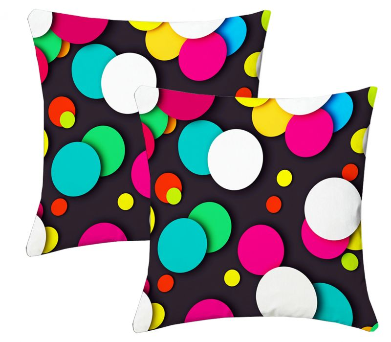 Buy Lushomes Digital Print Round Design Cushion Covers (pack Of 2) online