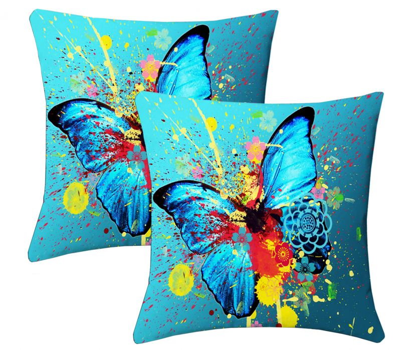 Buy Lushomes Digital Print Aqua Butterfly Cushion Covers (pack Of 2) online