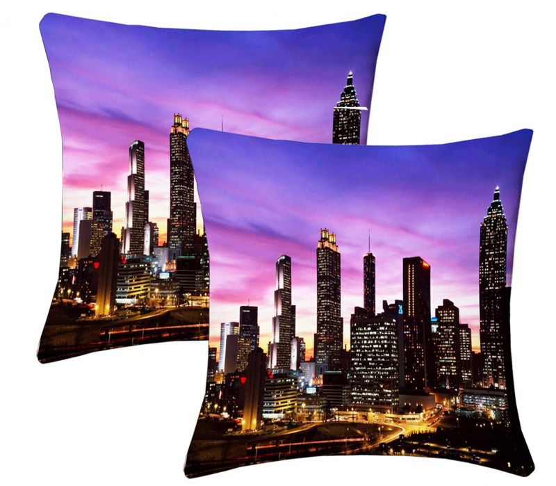 Buy Lushomes Digital Print City Life Cushion Covers (pack Of 2) online