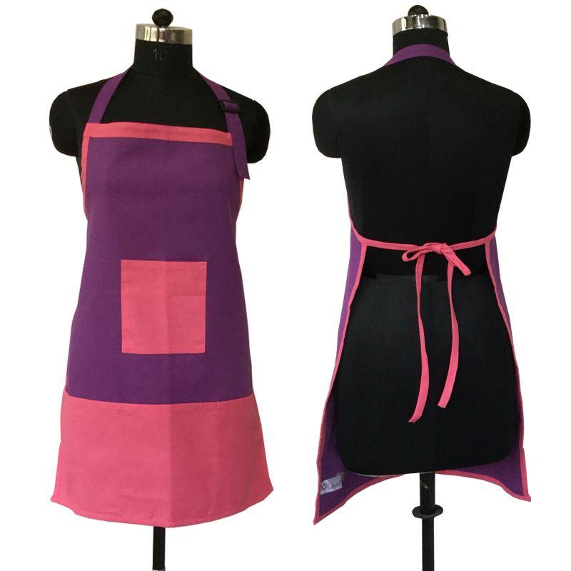 Buy Lushomes Cotton Royal Lilac And Rasberry Bi-color Apron_coapb1001 online