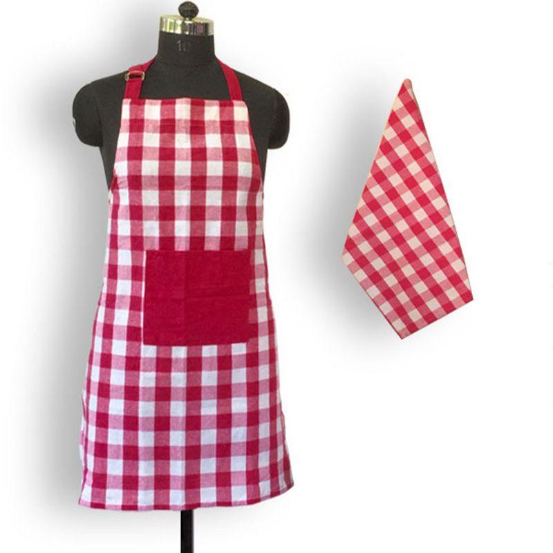 Lushomes Yarn Dyed Lilac Checks Aprons Set 1 Apron And Kitchen Towel