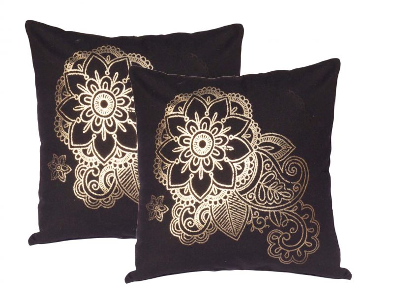 Buy Lushomes Black Cushion Covers With Gold Foil Print (pack Of 2) online