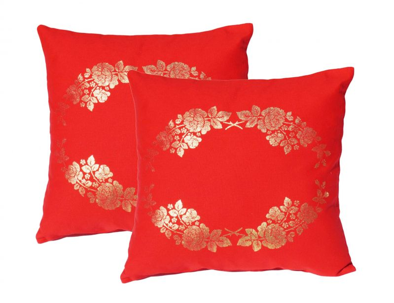 Buy Lushomes Red Cushion Covers With Gold Foil Print (pack Of 2) online