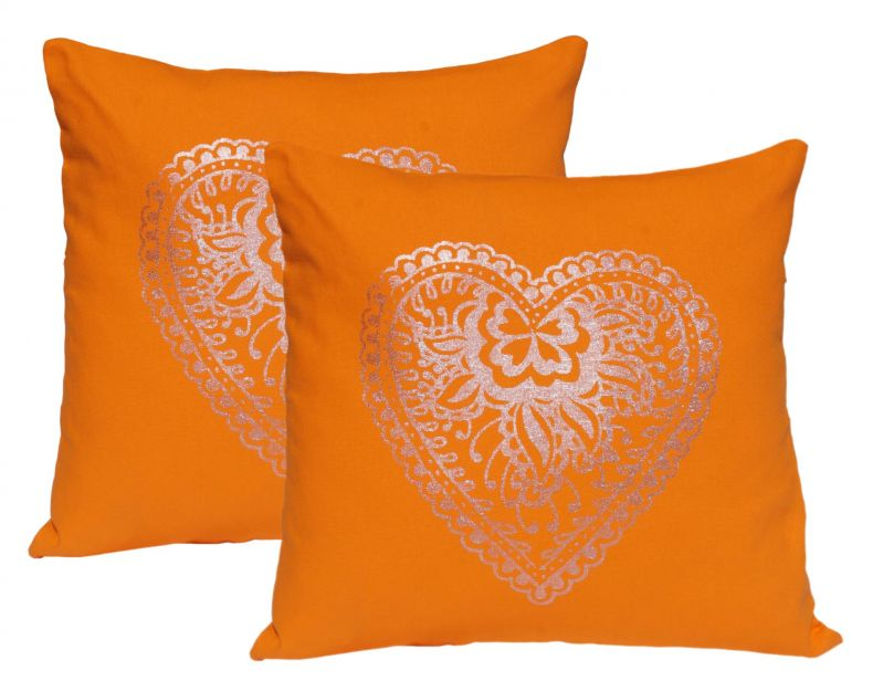 Buy Lushomes Dark Orange Cushion Covers With Silver Foil Print (pack Of 2) online