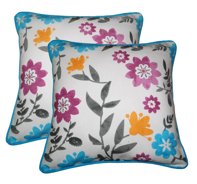 Buy Lushomes Flower Print Cotton Cushion Covers Pack of 2 online