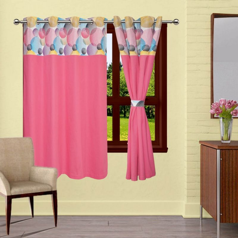 Buy Lushomes Circles Bloomberg Curtains With 8 Eyelets & Tiebacks For Window online