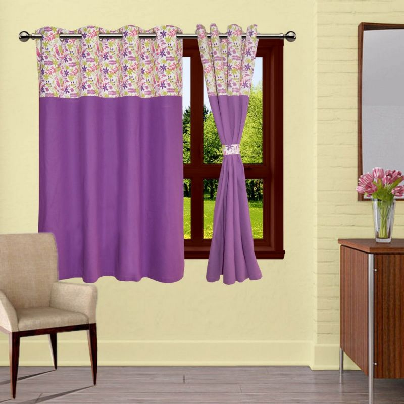 Buy Lushomes Purple Rain Bloomberg Curtains With Eyelets & Tiebacks For Window online