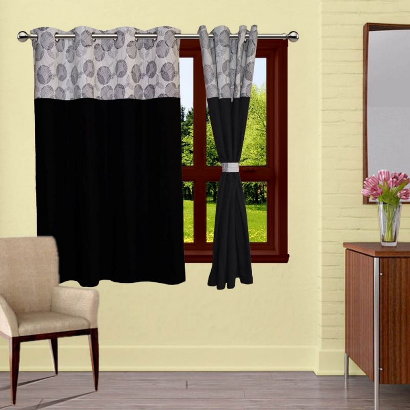 Buy Lushomes Geometric Bloomberg Curtains With 8 Eyelets & Tiebacks For Window online