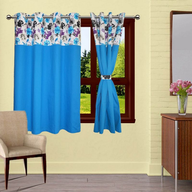 Buy Lushomes Watercolor Bloomberg Curtains With 8 Eyelet & Tiebacks For Window online
