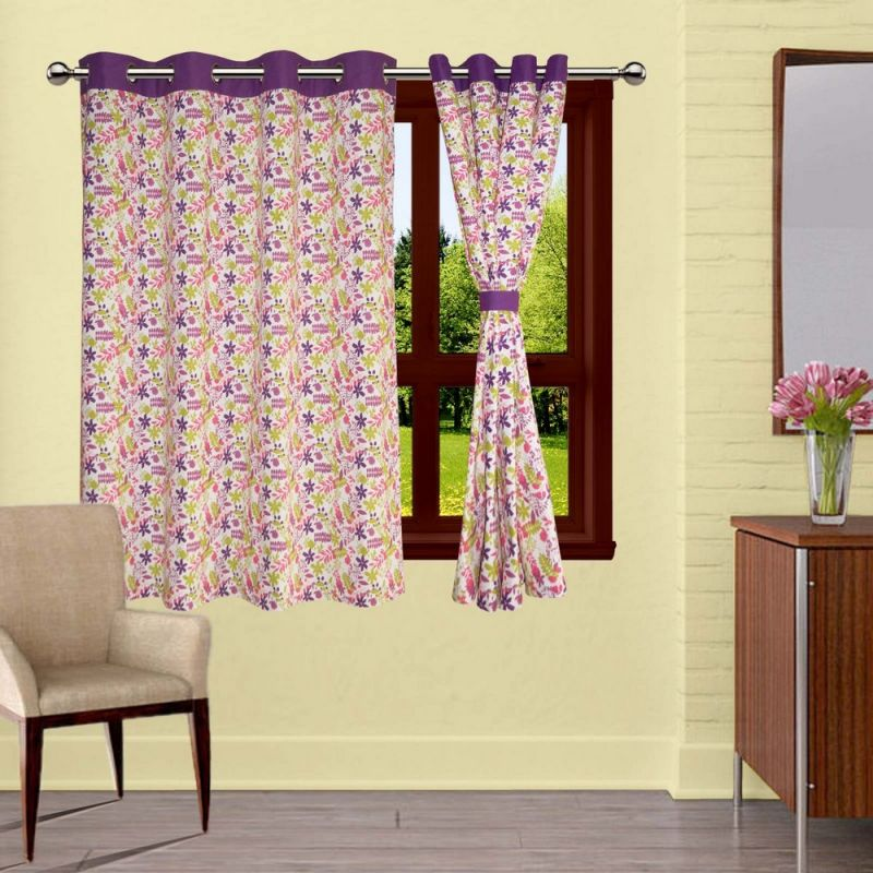 Buy Lushomes Purple Rain Printed Curtains With 8 Eyelets & Tiebacks For Window online