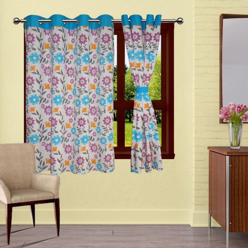 Buy Lushomes Flower Printed Curtains With 8 Eyelets & Tiebacks For Window online