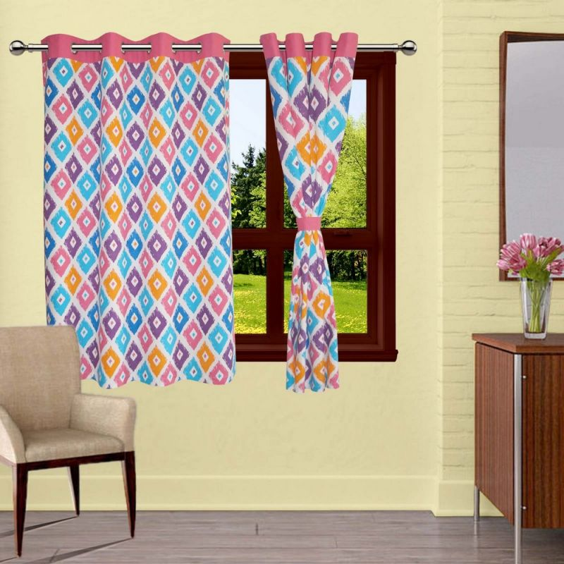 Buy Lushomes Square Printed Curtains With 8 Eyelets & Tiebacks For Window online