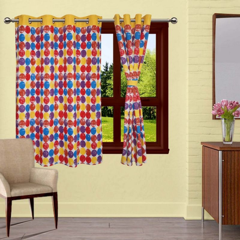 Buy Lushomes Titac Printed Curtains With 8 Eyelets & Tiebacks For Window online