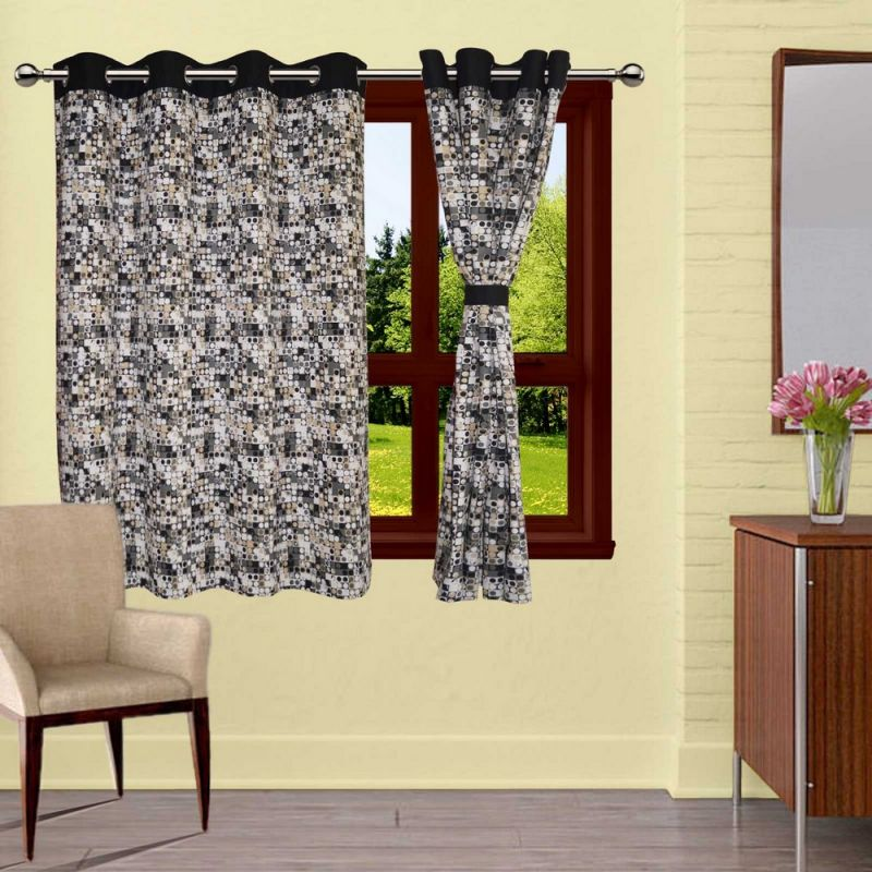 Buy Lushomes Coins Printed Curtains With 8 Eyelets & Tiebacks For Window online