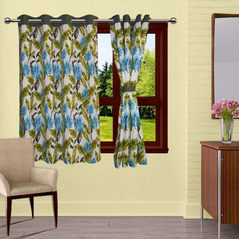 Buy Lushomes Forest Printed Curtains With 8 Eyelets & Tiebacks For Window online