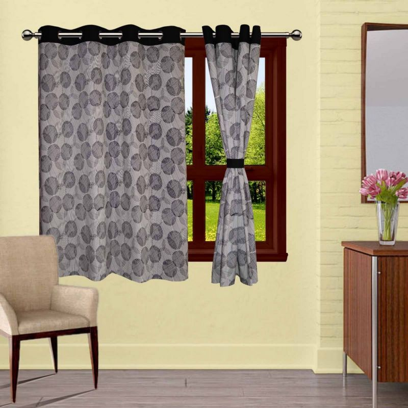 Buy Lushomes Geometric Printed Curtains With 8 Eyelets & Tiebacks For Window online
