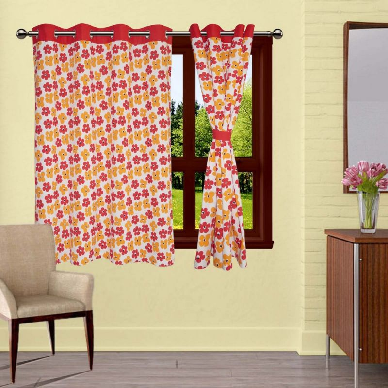 Buy Lushomes Basic Printed Curtains With 8 Eyelets & Tiebacks For Window online