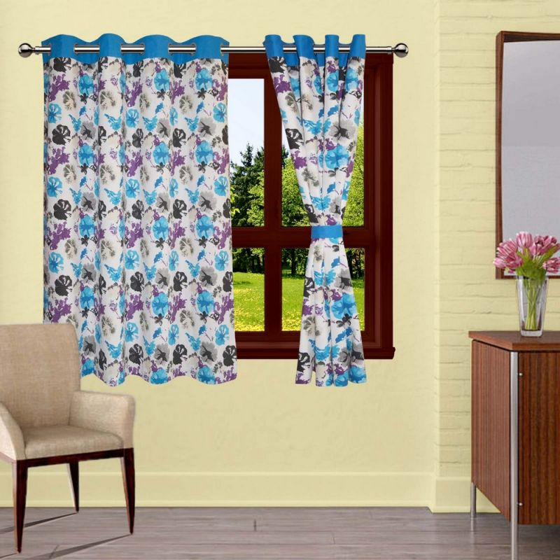 Buy Lushomes Watercolor Printed Curtains With 8 Eyelets & Tiebacks For Window online