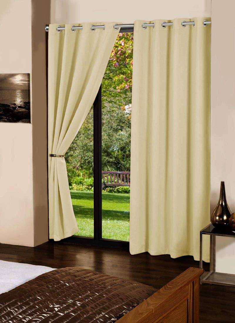 Buy Lushomes Ecru Plain Cotton Curtains With 8 Eyelets For Door online
