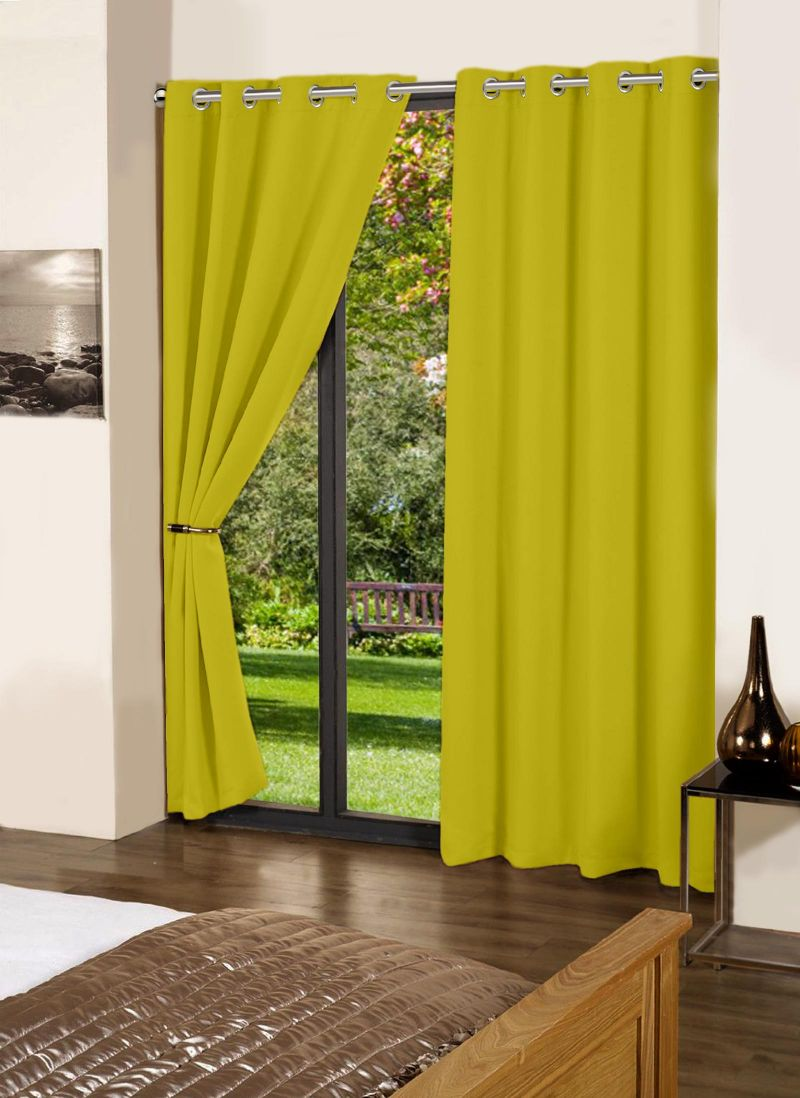 Buy Lushomes Palm Plain Cotton Curtains With 8 Eyelets For Door online