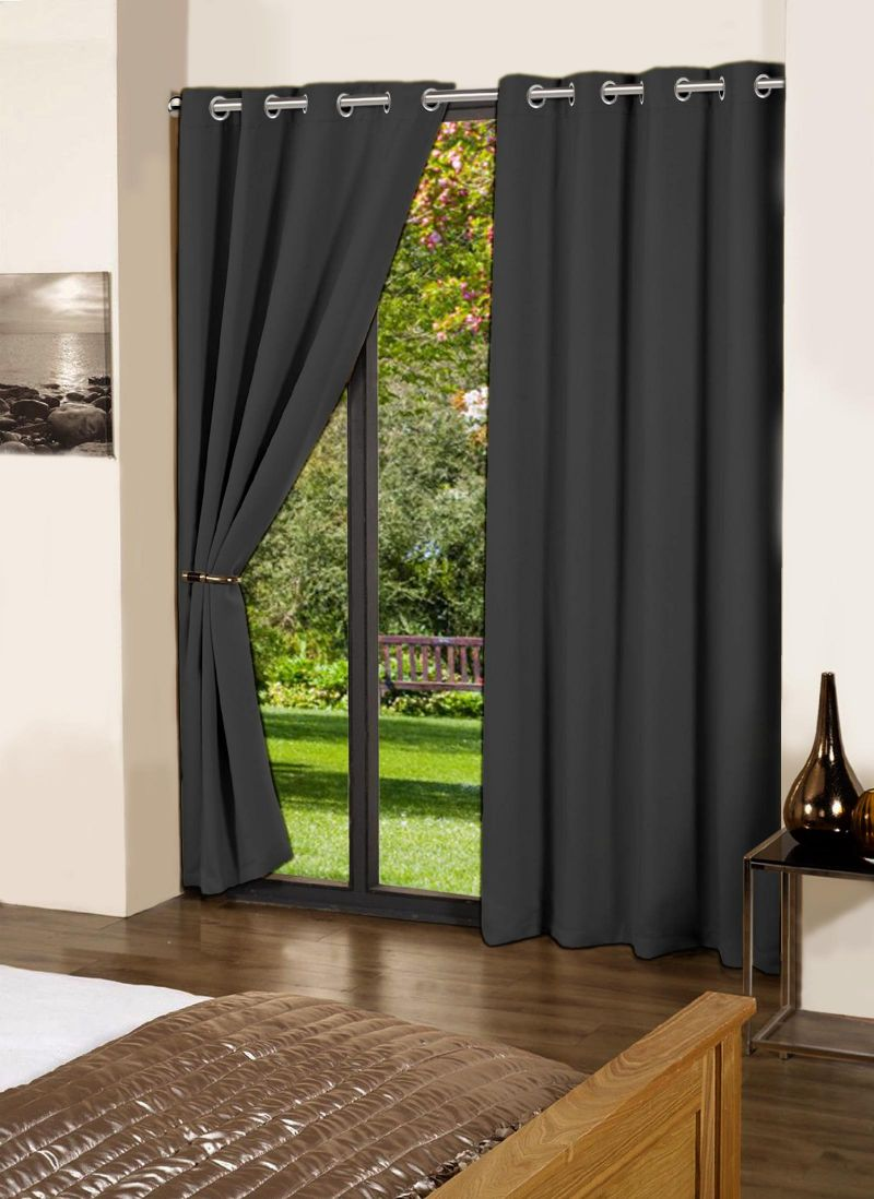 Buy Lushomes Pirate Black Plain Cotton Curtains With 8 Eyelets For Long Door online